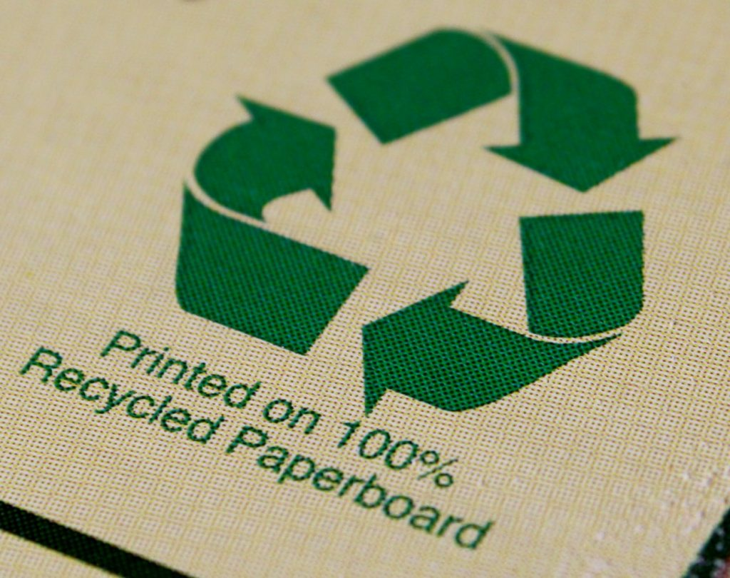 Image that says printed on 100% recycled paperboard