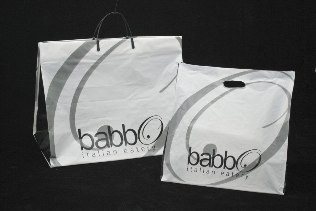 Plastic custom restaurant takeout bags