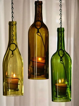 Turning wine bottles into decorative candle holders