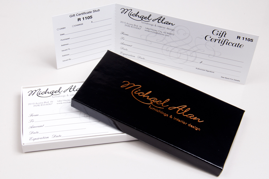 Custom gift certificates and boxes